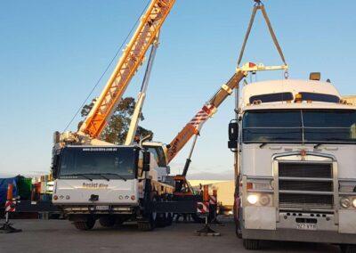 Assist Hire 55T Slew Crane Daul lift with a Franna Crane Brisbane